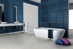 Home interior of a modern tiled bathroom with bathtub and contemporary design 3d rendering.
